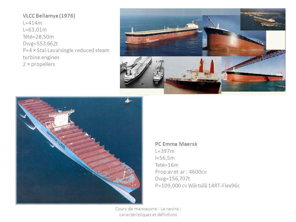 PC Emma Maersk L=397m l=56,5m Teté=16m Prop av et ar : 4600cv Dwg=156,707t P=109,000 cv Wärtsilä 14RT-Flex96c VLCC Bellamya (1976) L=414m L=63,01m Tét