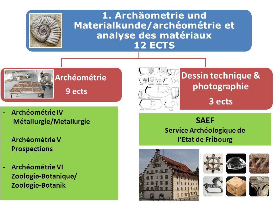 1. Archäometrie und Materialkunde/archéométrie et analyse des matériaux 12 ECTS Archéométrie 9 ects Dessin technique & photographie 3 ects -Archéométr