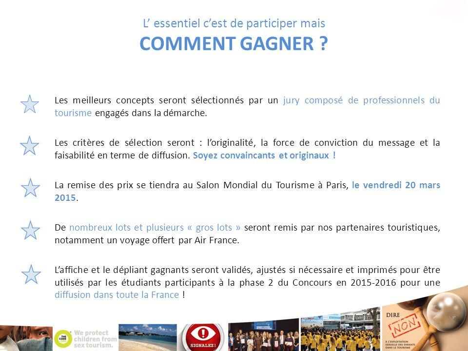 L' essentiel c'est de participer mais COMMENT GAGNER ? Les meilleurs concepts seront sélectionnés par un jury composé de professionnels du tourisme en
