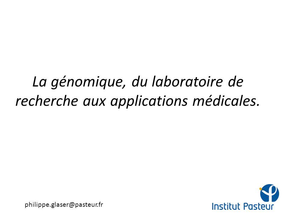 La génomique, du laboratoire de recherche aux applications médicales. philippe.glaser@pasteur.fr