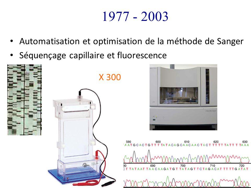 1977 - 2003 Automatisation et optimisation de la méthode de Sanger Séquençage capillaire et fluorescence X 300