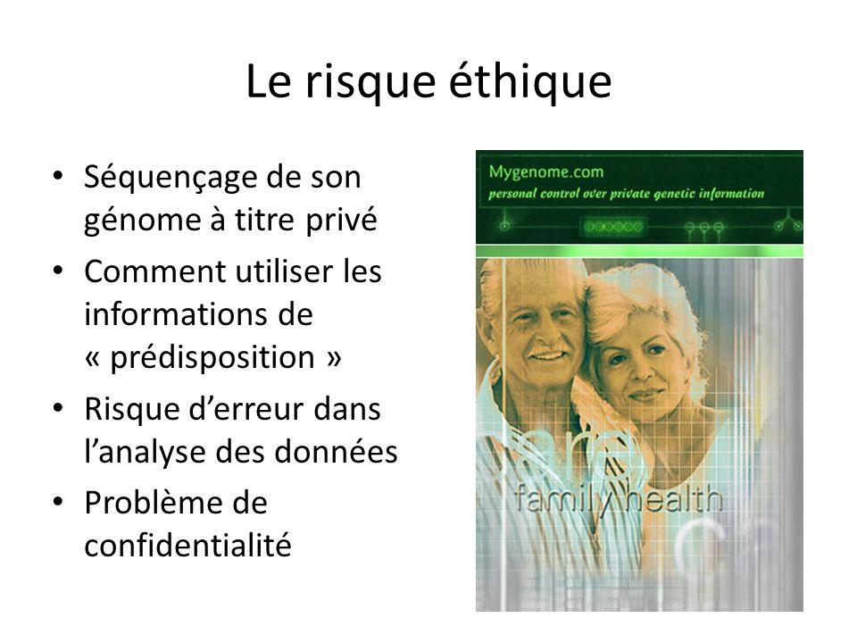 Le risque éthique Séquençage de son génome à titre privé Comment utiliser les informations de « prédisposition » Risque d'erreur dans l'analyse des do