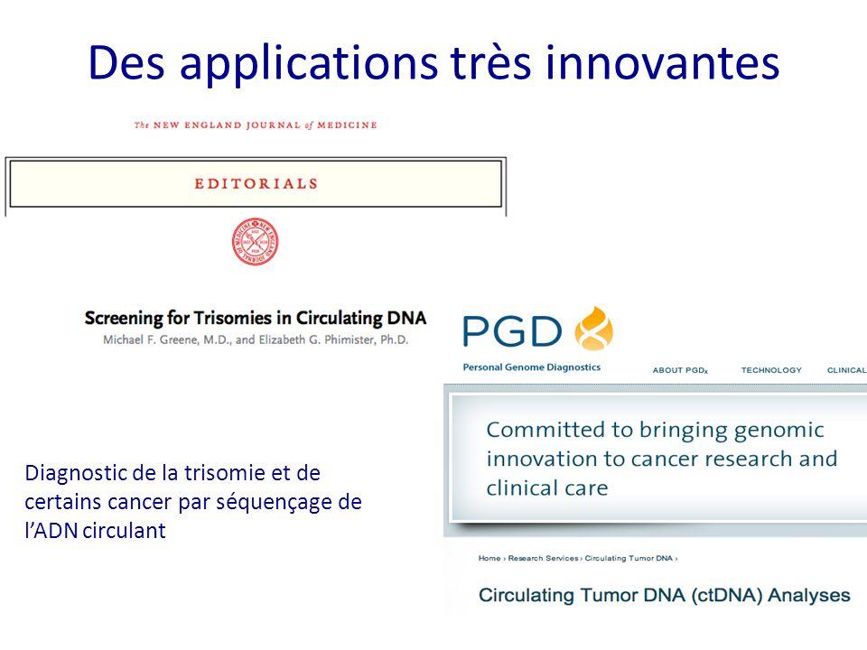 Des applications très innovantes Diagnostic de la trisomie et de certains cancer par séquençage de l'ADN circulant