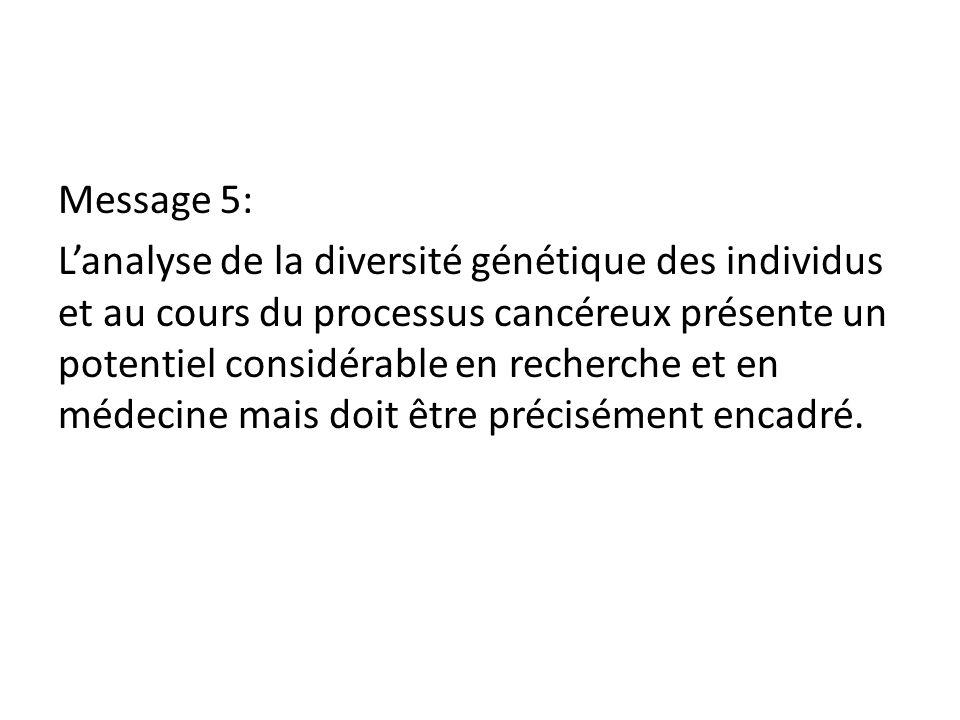 Message 5: L'analyse de la diversité génétique des individus et au cours du processus cancéreux présente un potentiel considérable en recherche et en