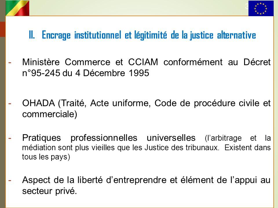 II. Encrage institutionnel et légitimité de la justice alternative -Ministère Commerce et CCIAM conformément au Décret n°95-245 du 4 Décembre 1995 -OH