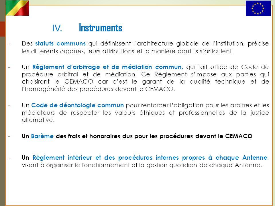 IV. Instruments -Des statuts communs qui définissent l'architecture globale de l'institution, précise les différents organes, leurs attributions et la