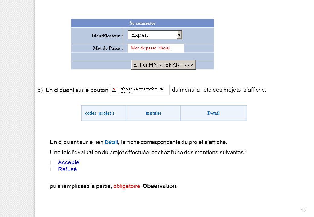 12 Se connecter Identificateur : Mot de Passe : Mot de passe choisi b) En cliquant sur le bouton du menu la liste des projets s'affiche. codes projet