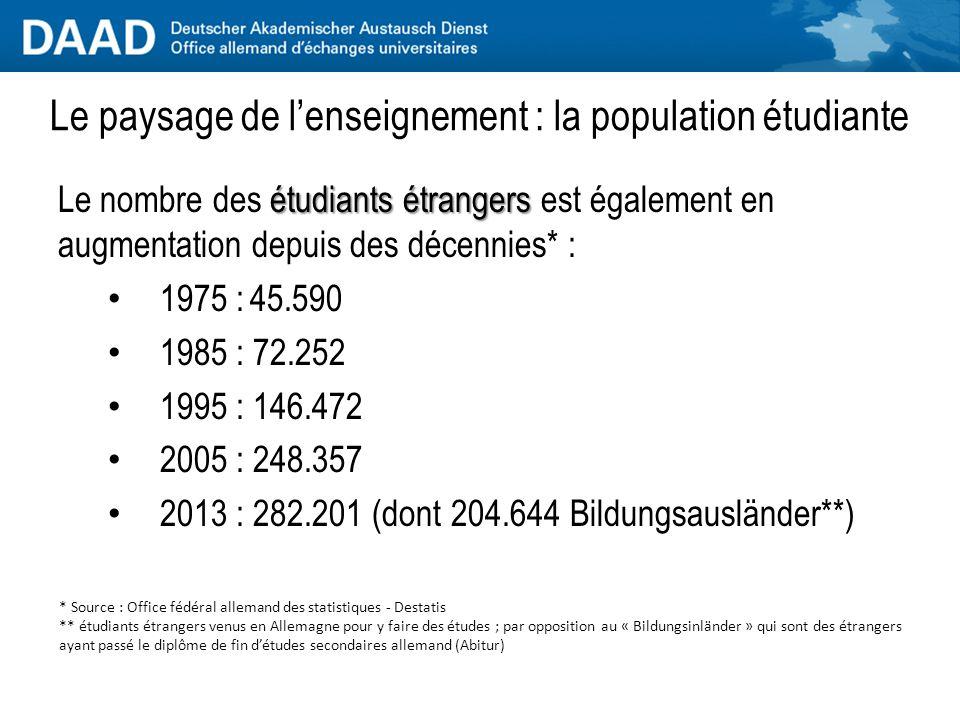 étudiants étrangers Le nombre des étudiants étrangers est également en augmentation depuis des décennies* : 1975 :45.590 1985 : 72.252 1995 : 146.472 2005 : 248.357 2013 : 282.201 (dont 204.644 Bildungsausländer**) * Source : Office fédéral allemand des statistiques - Destatis ** étudiants étrangers venus en Allemagne pour y faire des études ; par opposition au « Bildungsinländer » qui sont des étrangers ayant passé le diplôme de fin d'études secondaires allemand (Abitur)