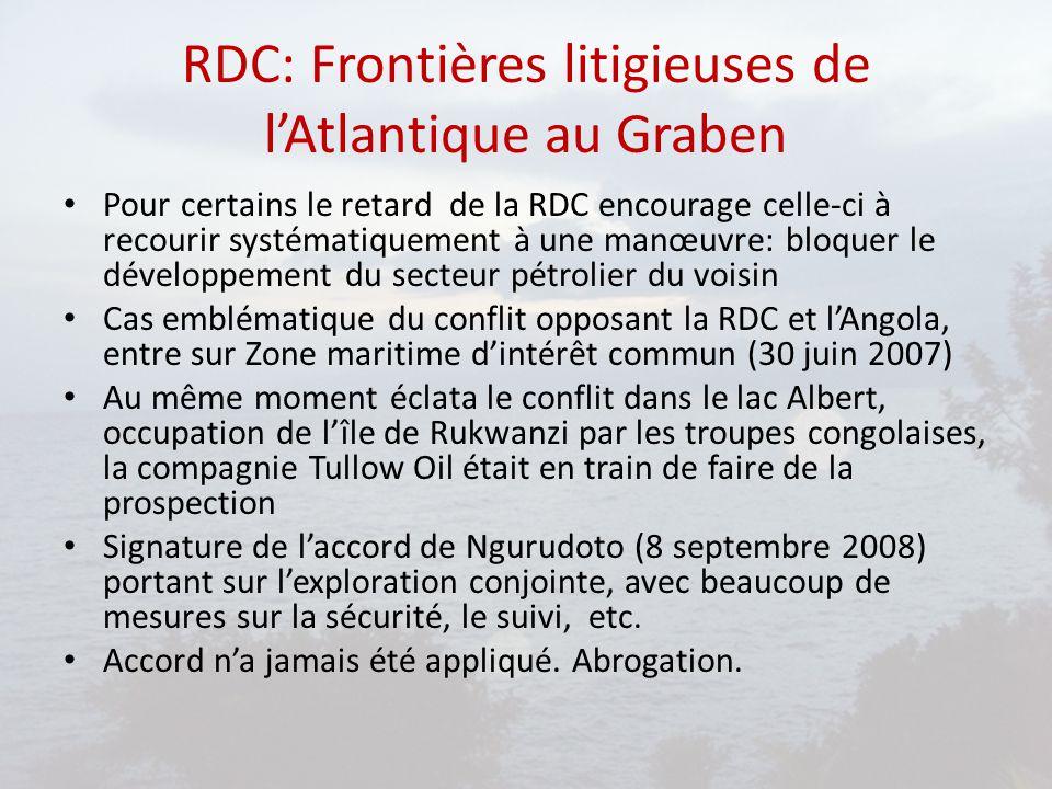 RDC: Frontières litigieuses de l'Atlantique au Graben Pour certains le retard de la RDC encourage celle-ci à recourir systématiquement à une manœuvre: