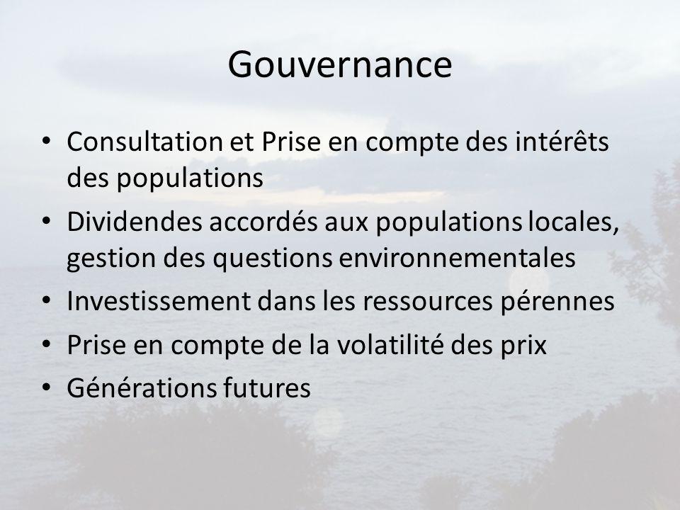 Gouvernance Consultation et Prise en compte des intérêts des populations Dividendes accordés aux populations locales, gestion des questions environnem