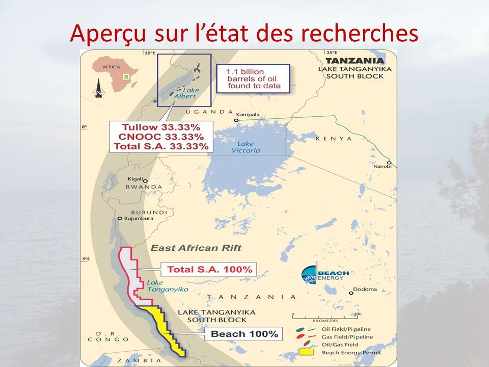 Problématique liée au développement des hydrocarbures dans le Rift Albertine Avancement des recherches à des rythmes différents: découvertes et avancées en Ouganda, Rwanda,Burundi et Tanzanie RDC se trouve en arrière dans cette dynamique Ressources se trouvent à cheval sur la frontière entre la RDC et ses voisins de l'Est Les frontières ne sont pas définitivement délimitées: terrestres avec bornages précaires ou imprécises, maritime par la médiane ou changement de lits des rivières (Semliki, Ruzizi)