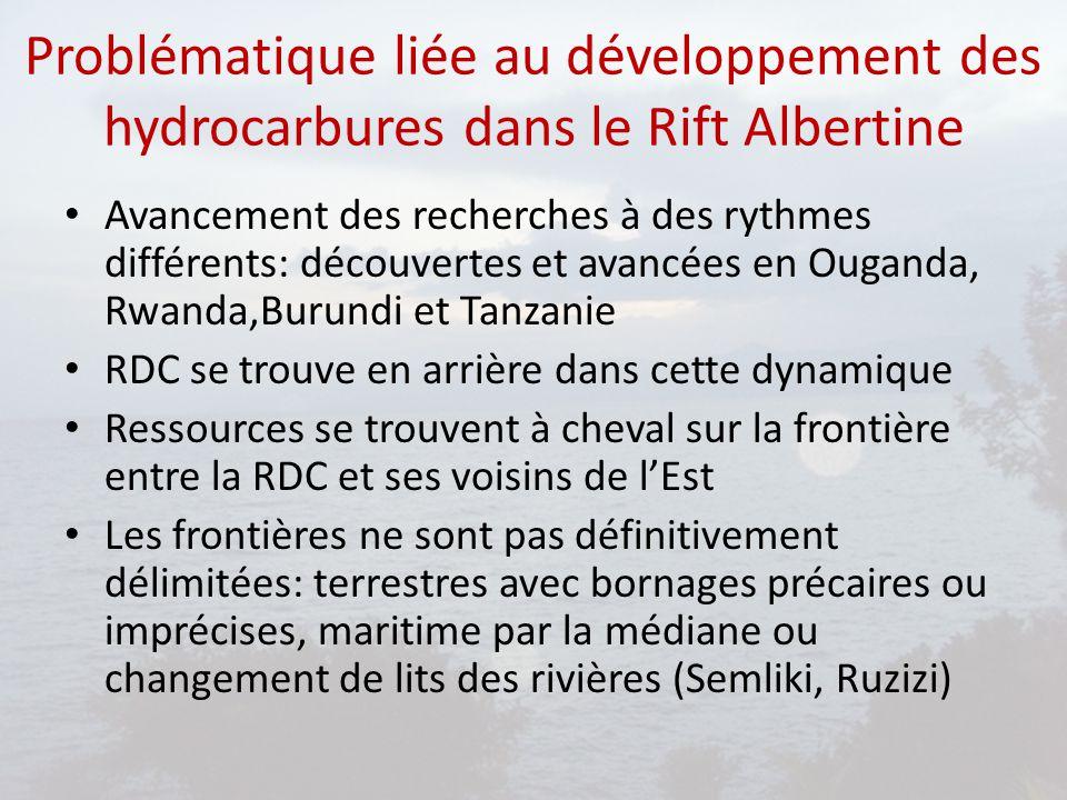 Problématique liée au développement des hydrocarbures dans le Rift Albertine Avancement des recherches à des rythmes différents: découvertes et avancé