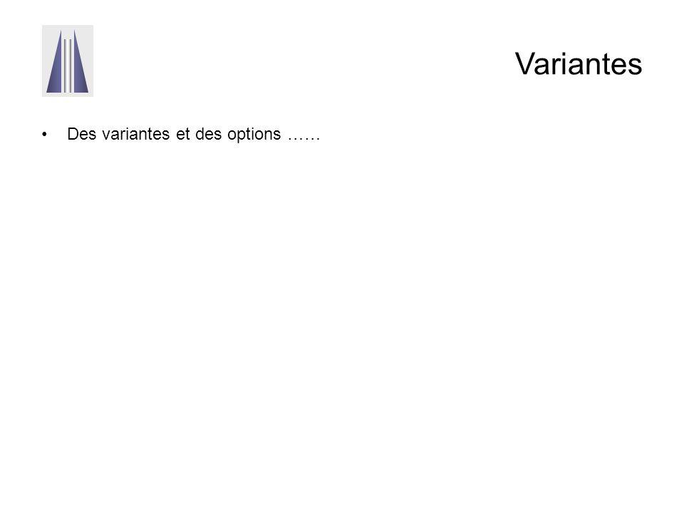 Variantes Des variantes et des options ……