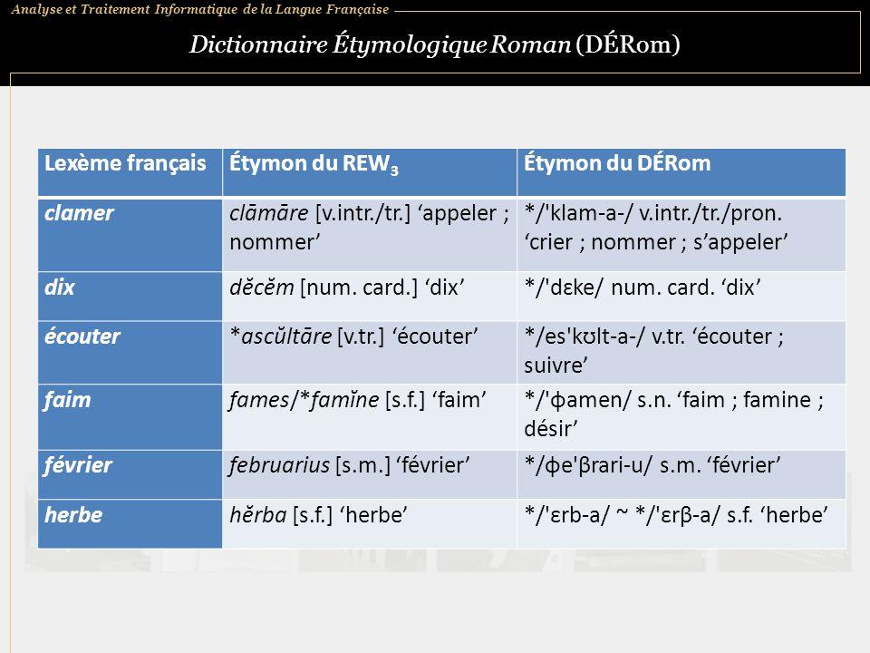 Analyse et Traitement Informatique de la Langue Française Dictionnaire Étymologique Roman (DÉRom) Lexème françaisÉtymon du REW 3 Étymon du DÉRom clamerclāmāre [v.intr./tr.] 'appeler ; nommer' */ klam ‑ a ‑ / v.intr./tr./pron.