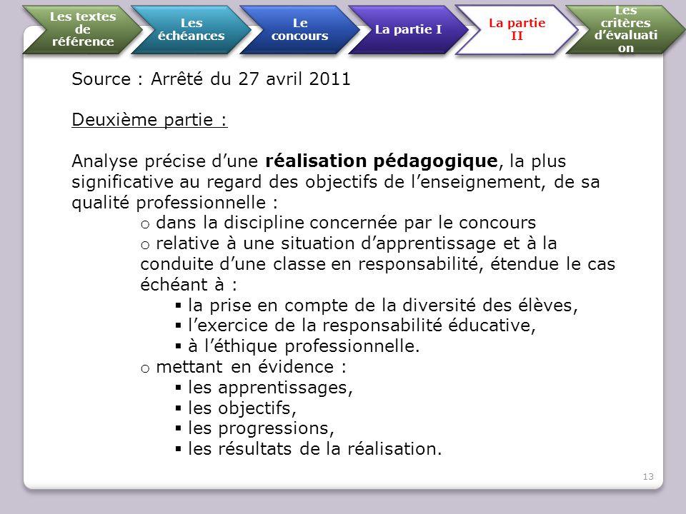 Source : Arrêté du 27 avril 2011 Deuxième partie : Analyse précise d'une réalisation pédagogique, la plus significative au regard des objectifs de l'e