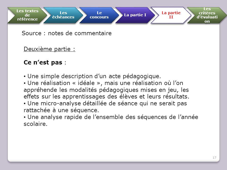 Les textes de référence Les échéances Le concours La partie I La partie II Les critères d'évaluati on Source : notes de commentaire Deuxième partie :