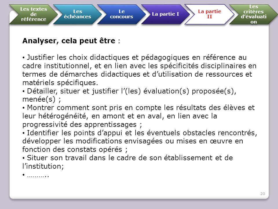 Les textes de référence Les échéances Le concours La partie I La partie II Les critères d'évaluati on Analyser, cela peut être : Justifier les choix d