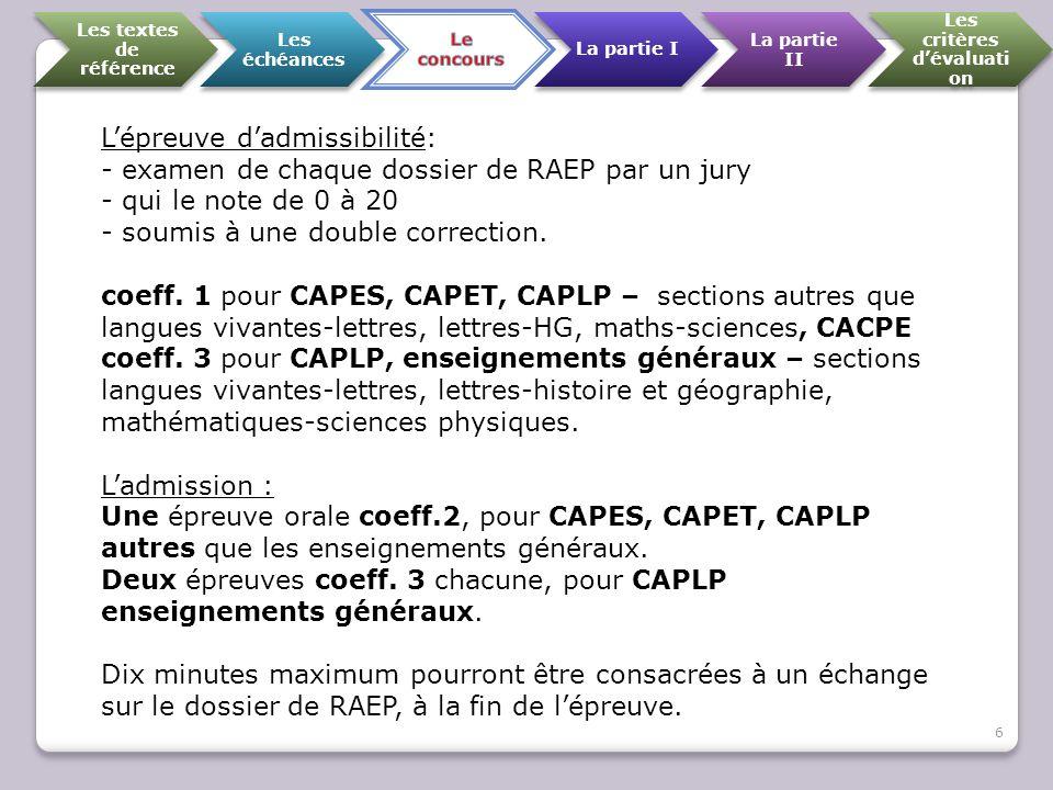 Les textes de référence Les échéances La partie I La partie II Les critères d'évaluati on L'épreuve d'admissibilité: - examen de chaque dossier de RAE