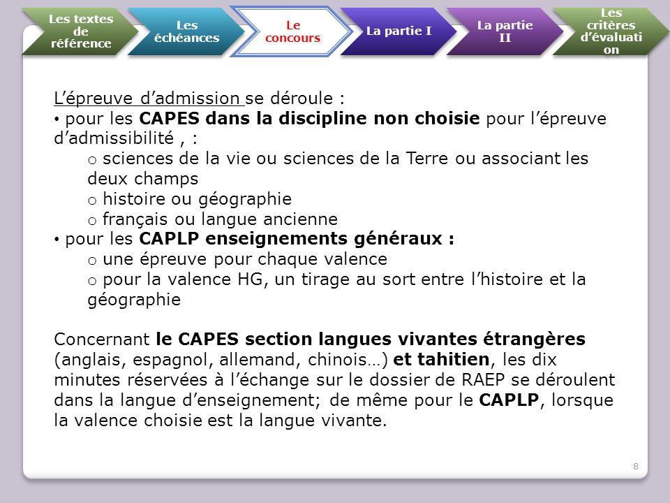 Les textes de référence Les échéances Le concours La partie I La partie II Les critères d'évaluati on L'épreuve d'admission se déroule : pour les CAPE