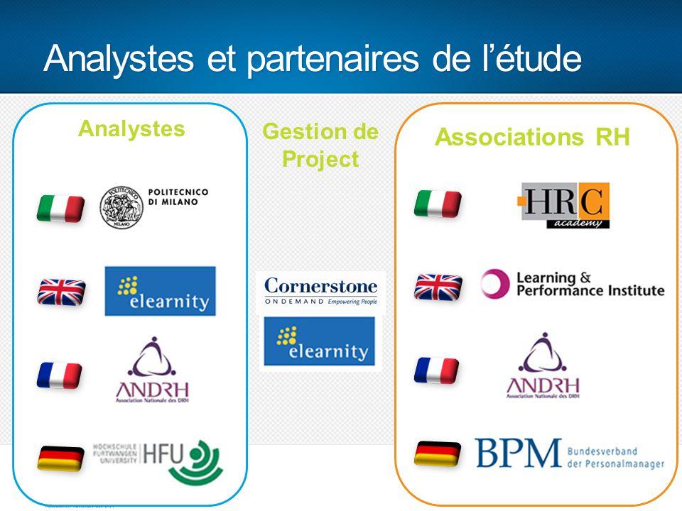 Analystes et partenaires de l'étude 9 Associations RH Analystes Gestion de Project