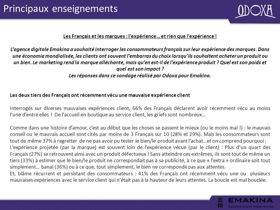 Principaux enseignements Les Français et les marques : l'expérience… et rien que l'expérience .