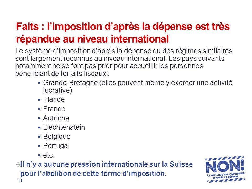 Faits : l'imposition d'après la dépense est très répandue au niveau international Le système d'imposition d'après la dépense ou des régimes similaires sont largement reconnus au niveau international.