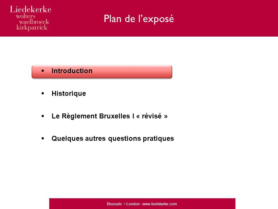 Brussels London - www.liedekerke.com  Introduction  Historique  Le Règlement Bruxelles I « révisé »  Quelques autres questions pratiques Plan de l'exposé