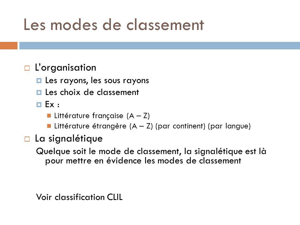 Les modes de classement  L'organisation  Les rayons, les sous rayons  Les choix de classement  Ex : Littérature française (A – Z) Littérature étrangère (A – Z) (par continent) (par langue)  La signalétique Quelque soit le mode de classement, la signalétique est là pour mettre en évidence les modes de classement Voir classification CLIL