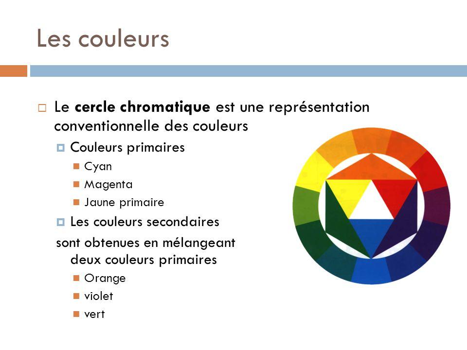 Les couleurs  Le cercle chromatique est une représentation conventionnelle des couleurs  Couleurs primaires Cyan Magenta Jaune primaire  Les couleurs secondaires sont obtenues en mélangeant deux couleurs primaires Orange violet vert