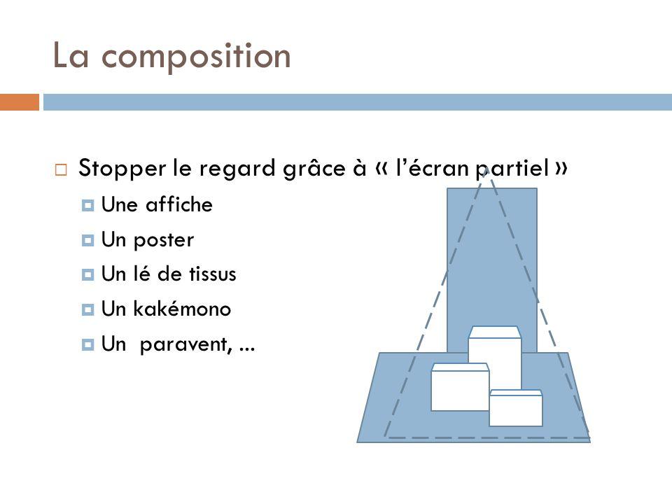 La composition  Stopper le regard grâce à « l'écran partiel »  Une affiche  Un poster  Un lé de tissus  Un kakémono  Un paravent,...