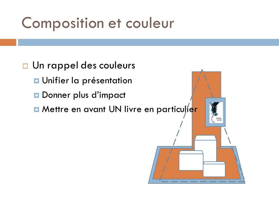 Composition et couleur  Un rappel des couleurs  Unifier la présentation  Donner plus d'impact  Mettre en avant UN livre en particulier