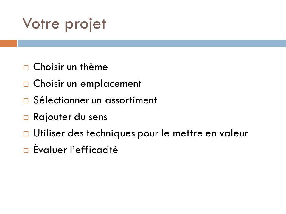 Votre projet  Choisir un thème  Choisir un emplacement  Sélectionner un assortiment  Rajouter du sens  Utiliser des techniques pour le mettre en valeur  Évaluer l'efficacité