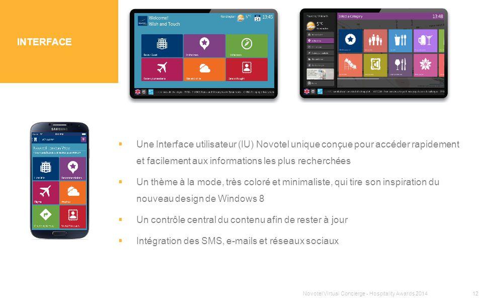 SECTION 1 TITRE INTERFACE  Une Interface utilisateur (IU) Novotel unique conçue pour accéder rapidement et facilement aux informations les plus reche