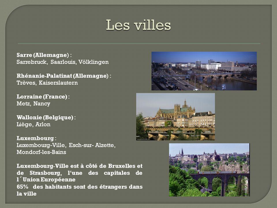 Wallonie (Belgique)  3.395.942 habitants Luxembourg  511.840 habitants Sarre (Allemagne)  1.014.000 habitants Lorraine (France)  2.339.881 habitants Rhénanie-Palatinat (Allemagne)  4.000.000 habitants Grande-Région  12.