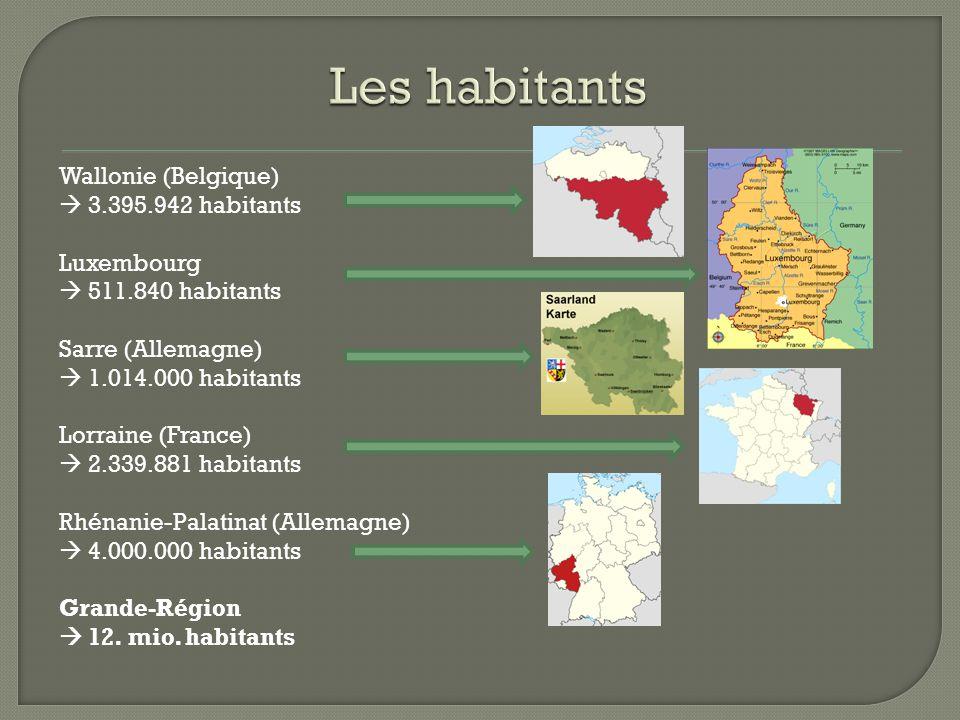 Wallonie (Belgique)  3.395.942 habitants Luxembourg  511.840 habitants Sarre (Allemagne)  1.014.000 habitants Lorraine (France)  2.339.881 habitan