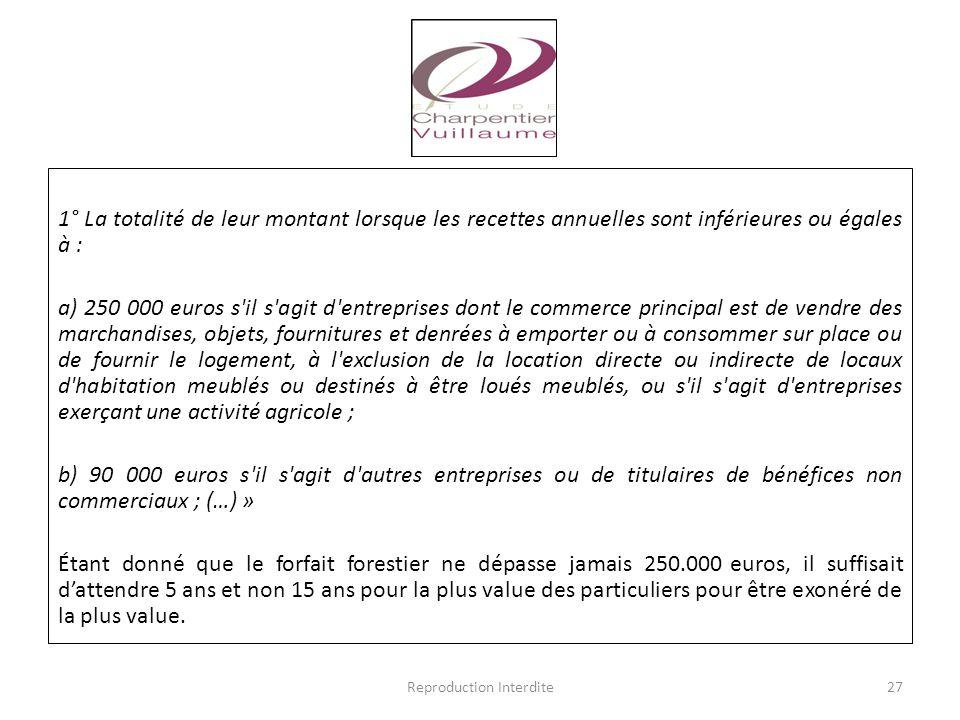 1° La totalité de leur montant lorsque les recettes annuelles sont inférieures ou égales à : a) 250 000 euros s'il s'agit d'entreprises dont le commer