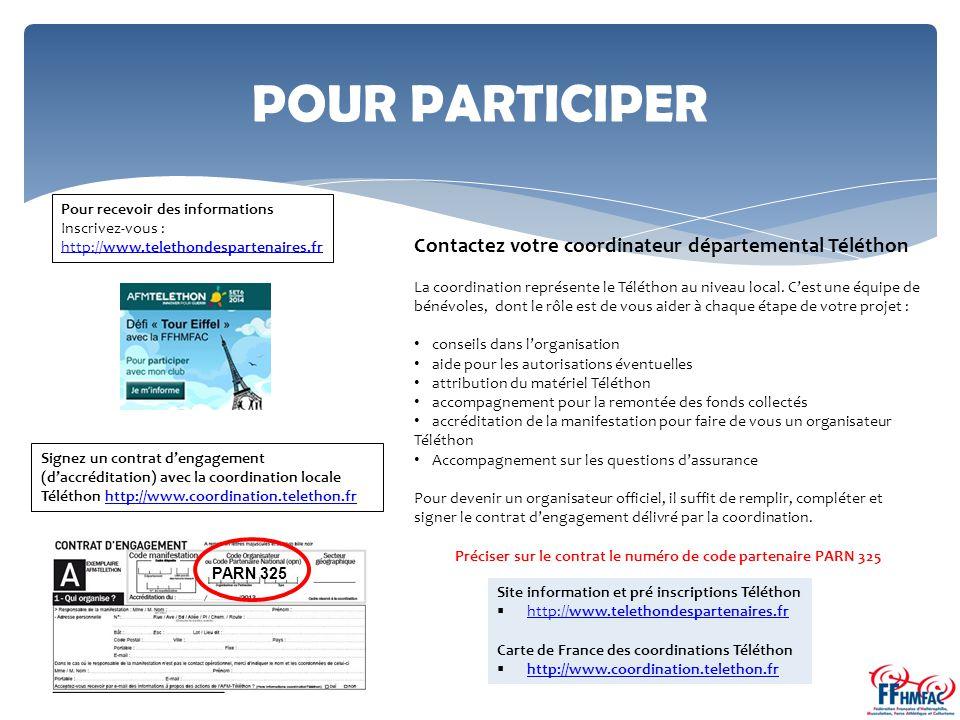 POUR PARTICIPER Contactez votre coordinateur départemental Téléthon La coordination représente le Téléthon au niveau local.