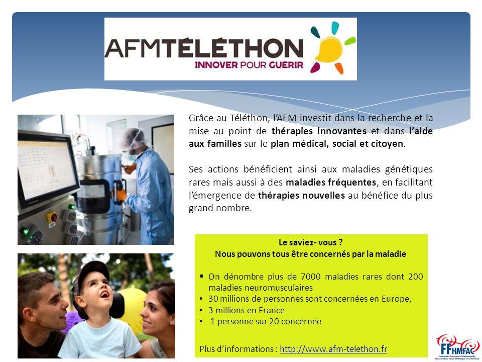 Grâce au Téléthon, l'AFM investit dans la recherche et la mise au point de thérapies innovantes et dans l'aide aux familles sur le plan médical, social et citoyen.