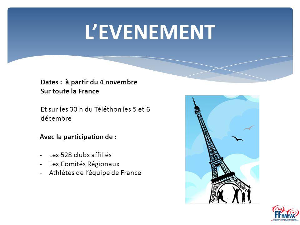 L'EVENEMENT Dates : à partir du 4 novembre Sur toute la France Et sur les 30 h du Téléthon les 5 et 6 décembre Avec la participation de : -Les 528 clubs affiliés -Les Comités Régionaux -Athlètes de l'équipe de France