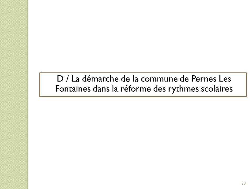 D/ LA DEMARCHE DE LA COLLECTIVITE DANS LA REFORME DES RYTHMES SCOLAIRES D / La démarche de la commune de Pernes Les Fontaines dans la réforme des ryth
