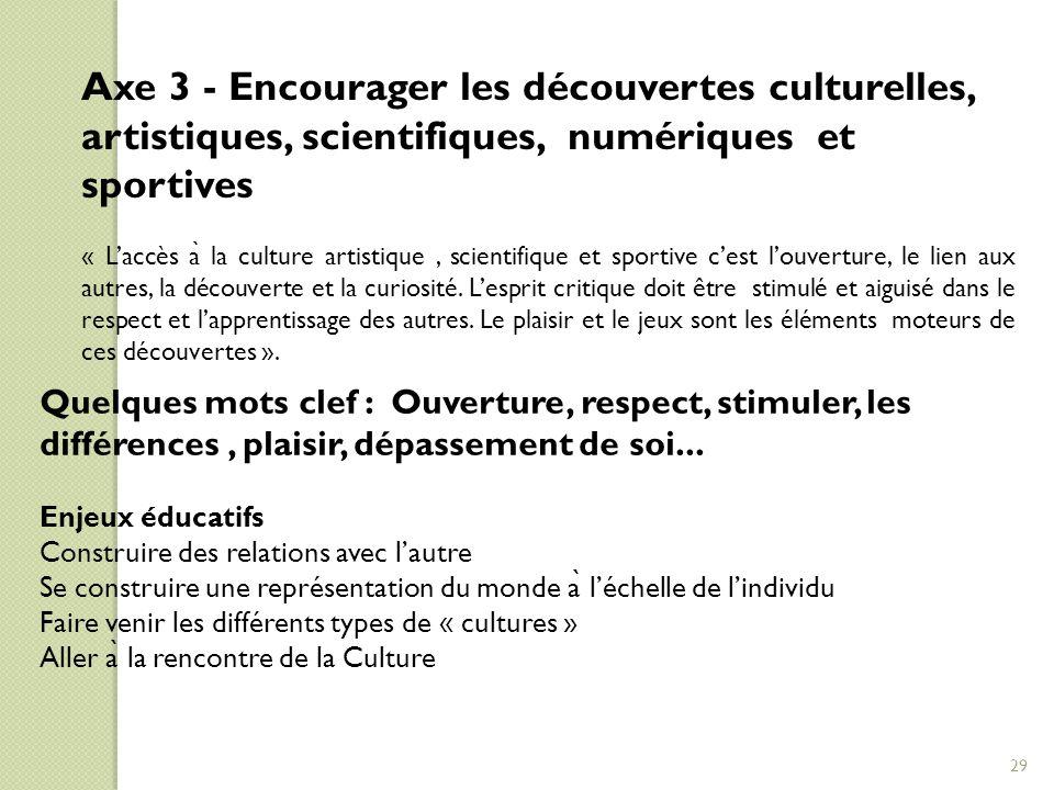 Axe 3 - Encourager les découvertes culturelles, artistiques, scientifiques, numériques et sportives « L'accès a ̀ la culture artistique, scientifique