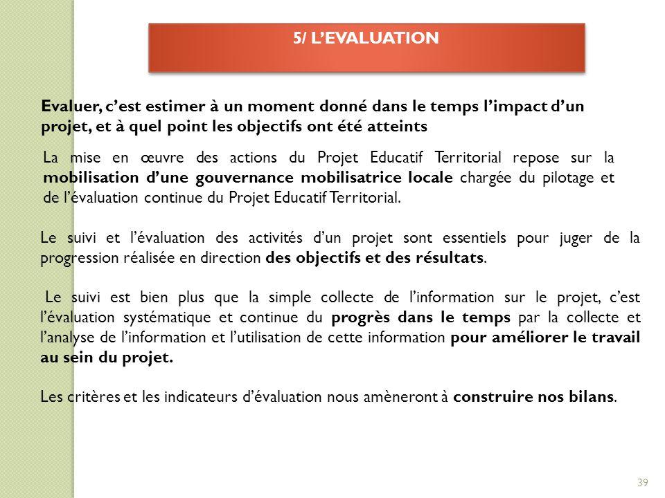 5/ L'EVALUATION Evaluer, c'est estimer à un moment donné dans le temps l'impact d'un projet, et à quel point les objectifs ont été atteints La mise en