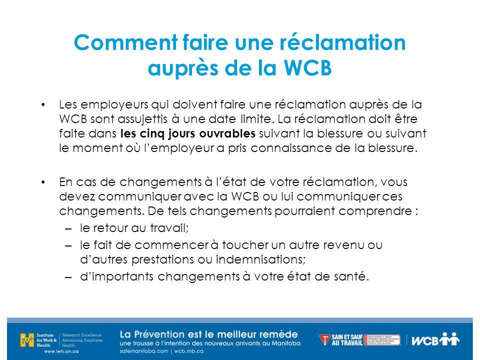 Comment faire une réclamation auprès de la WCB Les employeurs qui doivent faire une réclamation auprès de la WCB sont assujettis à une date limite. La