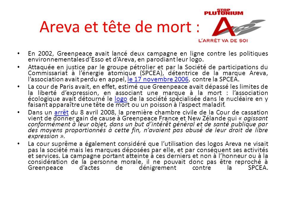 Areva et tête de mort : En 2002, Greenpeace avait lancé deux campagne en ligne contre les politiques environnementales d'Esso et d'Areva, en parodiant