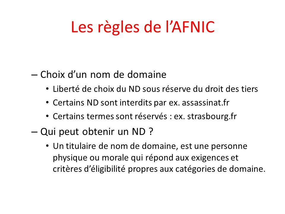 Les règles de l'AFNIC – Choix d'un nom de domaine Liberté de choix du ND sous réserve du droit des tiers Certains ND sont interdits par ex. assassinat