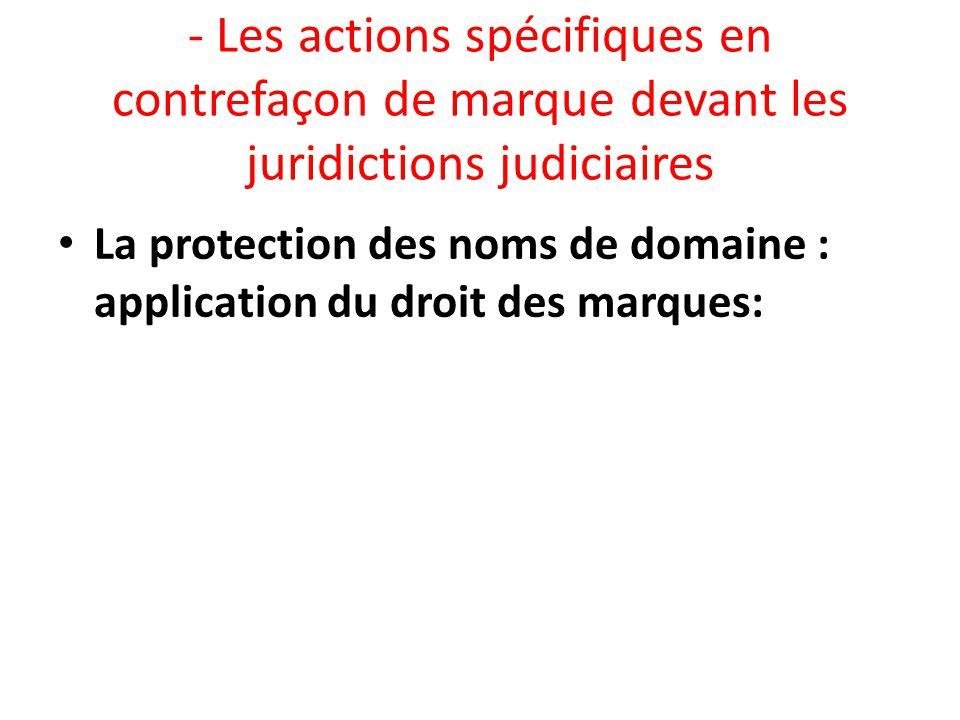 - Les actions spécifiques en contrefaçon de marque devant les juridictions judiciaires La protection des noms de domaine : application du droit des ma