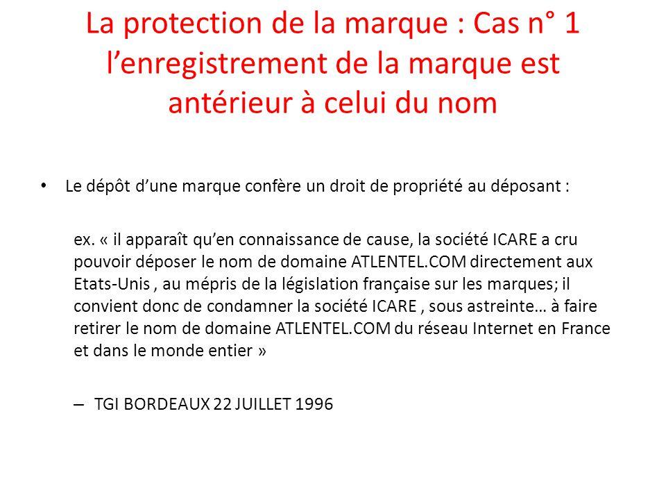 La protection de la marque : Cas n° 1 l'enregistrement de la marque est antérieur à celui du nom Le dépôt d'une marque confère un droit de propriété a