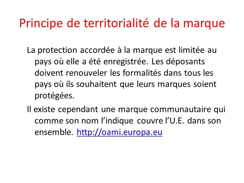Principe de territorialité de la marque La protection accordée à la marque est limitée au pays où elle a été enregistrée. Les déposants doivent renouv