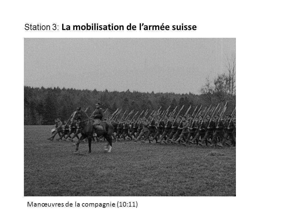 Manœuvres de la compagnie (10:11) Station 3: La mobilisation de l'armée suisse