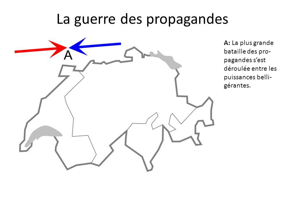 A B: Les États belli- gérants poursuivent un double objectif : dénigrer l'ennemi et louer le com- portement des Suisses parlant la même langue qu'eux (une pro- pagande positive, symbolisée ici par des flèches munies d'un cœur).